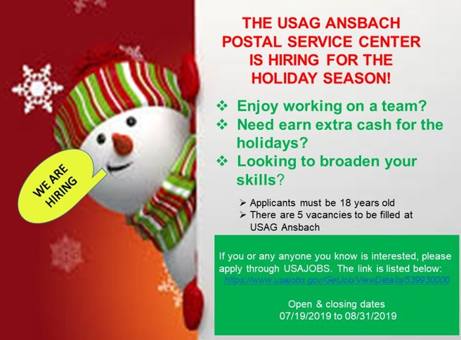 USAG Ansbach Postal Service Center is hiring!