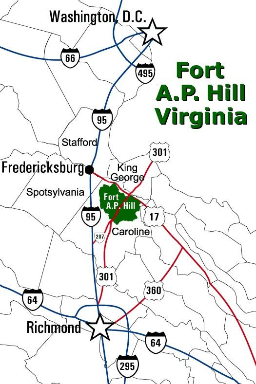 Driving map to Fort A.P. Hill