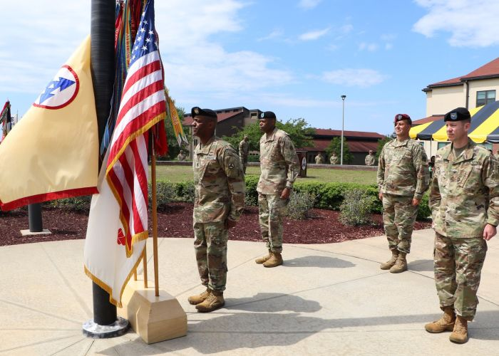 Brig. Gen. James M. Smith relinquished command of the 3rd Expeditionary Sustainment Command to Col. Lance G. Curtis in a ceremony held on June 2, 2020 3rd ESC Headquarters Flag pole, Fort Bragg, NC