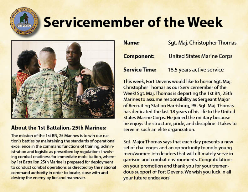 Fort Devens Servicemember of the Week