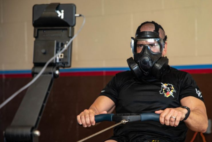 1st Sgt. Marc Dibernardo, Headquarters and Headquarters Company, 3rd Infantry Brigade Combat Team, 25th Infantry Division First Sergeant, rows 48,400 meters while wearing an M-50 Protective Mask in an effort to raise awareness for suicide prevention on August 27, 2020 on Schofield Barracks, Hawaii.