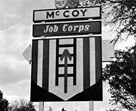 Photo of a Job Corps Training Center sign at Camp McCoy