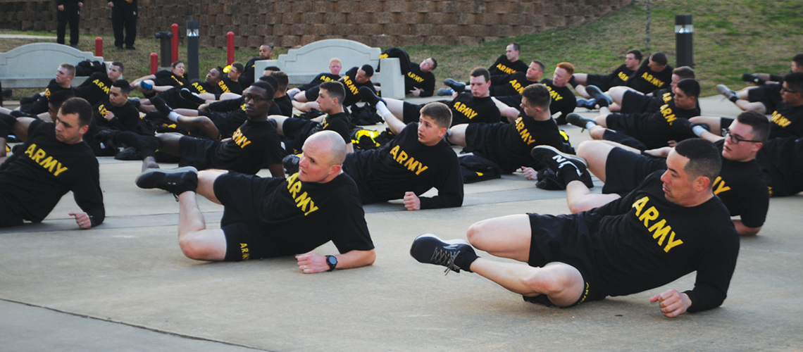New Soldiers to Fort Polk participate in the weekly Newcomer's physical training session